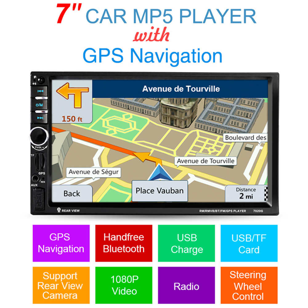 7 2DIN 1024*600 Touch Screen Car Radio Media Player DVD MP5 Video Player Bluetooth FM Radio GPS Navigation with Remote Control car sun visor 7 lcd dvd media player with fm av in