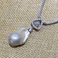 Горячая треугольник цирконий ядросодержащих flameball барочная перла ожерелье форма 3 цвет Прочный настроить цепи стерлингового серебра 925
