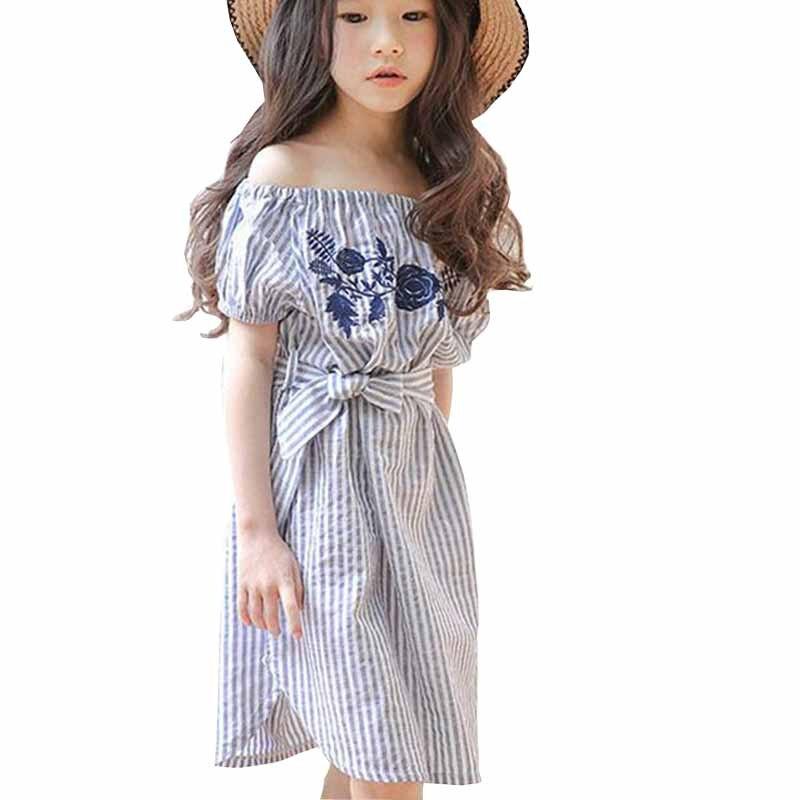 3-12 let dívky proužkované rameno Letní šaty Květinové vyšívání Děti Oblečení Dívky Party Vestidos Dětské oblečení