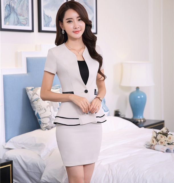 150877db11b Ladies Formal Skirt Suits With Jackets And Mini Skirt Elegant Fashion  Summer Professional Business Female Outfits