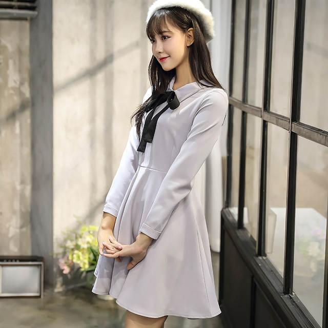 9c03bcef36 Cor sólida Bonito Pequeno Doce Vestidos Mulheres Coreano Japonês Estilo  Preppy Princesa A Linha Festa Férias