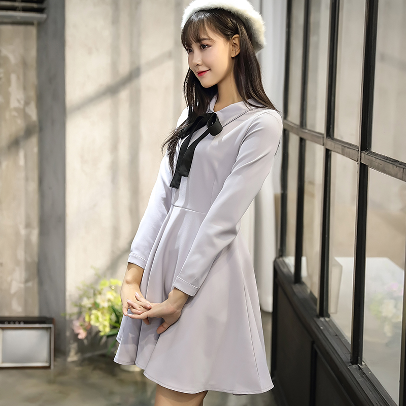 403b936017 Solid Color Cute Sweet Little Dresses Women Korean Japanese Preppy Style  Princess A Line Party Holiday Long Sleeve Bow Tie Dress-in Dresses from  Women s ...