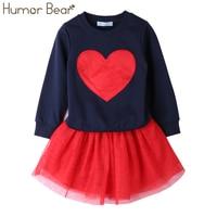 Humor Bear 2017 Autumn Baby Girl Clothes Girls Clothing Sets Love Long Sleeve Dress Casual 2PCS