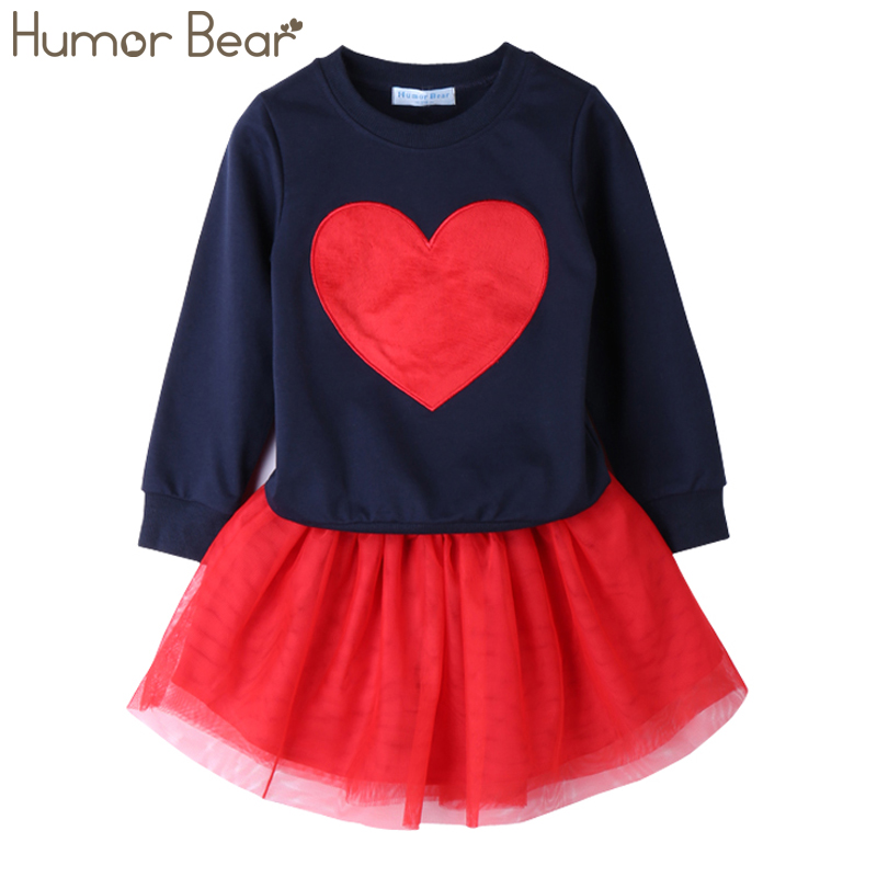 Humor Bear NEW Autumn Baby Girl Clothes Girls Clothing Sets Love Long Sleeve + Skirts Casual 2PCS Girls Suits Kids Clothing Sets 2017 spring boutique baby girl pullovers puff skirts girls sets embroidery long sleeve tops korean tutu skirts suits 2pcs set