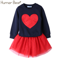 Humor Bear 2017 Autumn Baby Girl Clothes Girls Clothing Sets Love Long Sleeve Dress Casual 2PCS