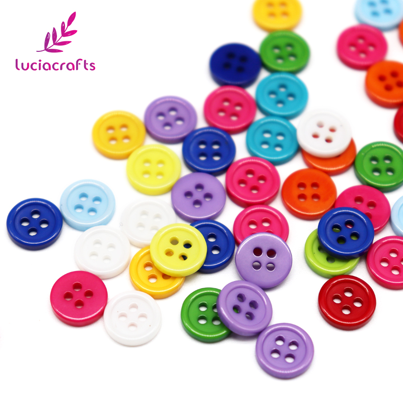 SALE Lucia Crafts 50pcs <font><b>10mm</b></font> Mix Randomly Resin Round <font><b>Buttons</b></font> 4-Holes DIY For Sewing Flatback Scrapbooking Accessories CE0503 image
