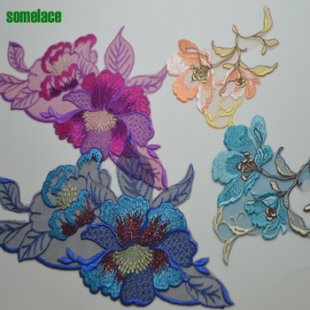 somelace 2pcslot Fluorescblue~pink~orange embroidery floral patches Venice sewing dress lace applique embroidery lace18043010 embroidery