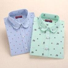 Dioufond осенние Рубашки женские хлопковые блузки с принтом винтажные элегантные женские Топы женские рубашки с длинным рукавом размера плюс