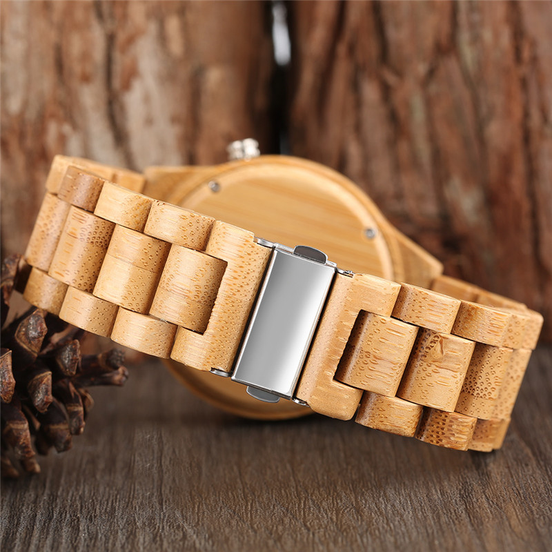 Luxury Bamboo Wooden Watches Men Full Wood Band Strap Casual Fashion - Ерлердің сағаттары - фото 3