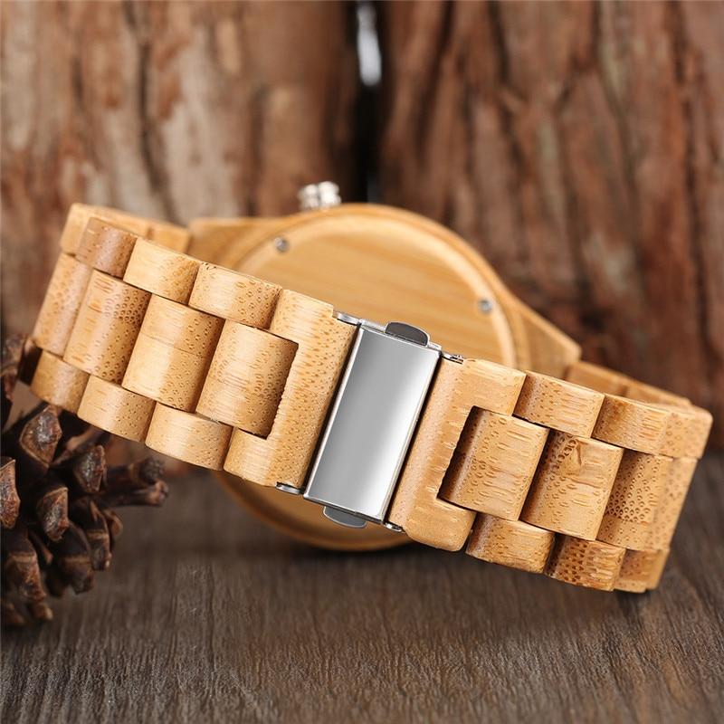 Շքեղ Բամբուկե փայտե ժամացույցներ - Տղամարդկանց ժամացույցներ - Լուսանկար 3
