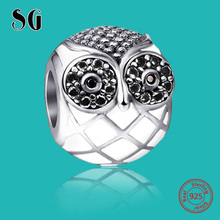 SG original owl charms with CZ&enamel Pendant Beads Silver 925 Fit Authentic pandora Charms bracelet diy jewelry making Gifts