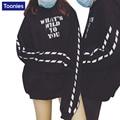 2017 Winter K-pop Style Couples Hoodies BF Black Hooded Jacket Loose Hip Hop Plus Velvet Printed Street Clothing Sweatshirts