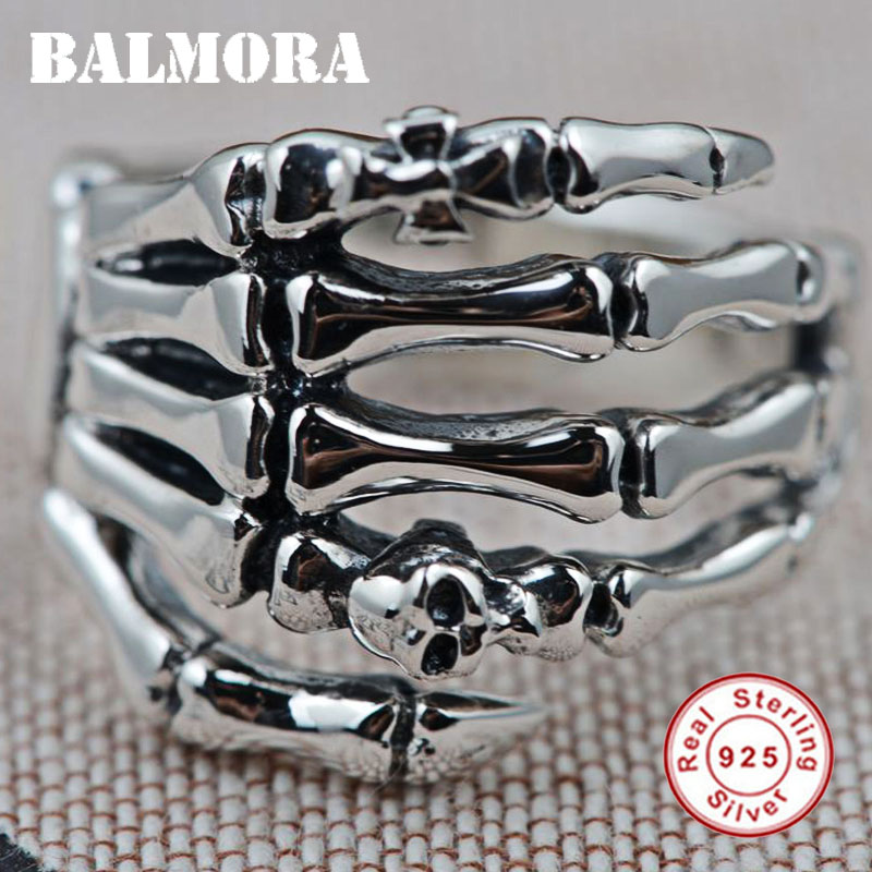 BALMORA 100% Real 925 Sterling Silver Hand & Skull Rings for Men Vintage Ring Party Gifts Male Punk Fashion Jewelry SY20226 jiyaiqi men s ring vintage silver stainless steel compass style fashion men party ring male jewelry rings