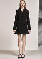 우수한 품질 50% 할인 프릴 인어 무릎 긴 재킷 코트 여성 패션 재킷 우아한 슬림 긴 침대 무료 배송