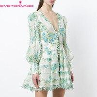 Women V Neck Sexy Floral Print Party Dress Summer Slim Short Lantern Sleeve Waves Tassel Cute