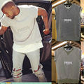 2016 top quality kanye west yeezy season oversized Men's Cotton Short sleeve t-shirt Casual Tee Grey color
