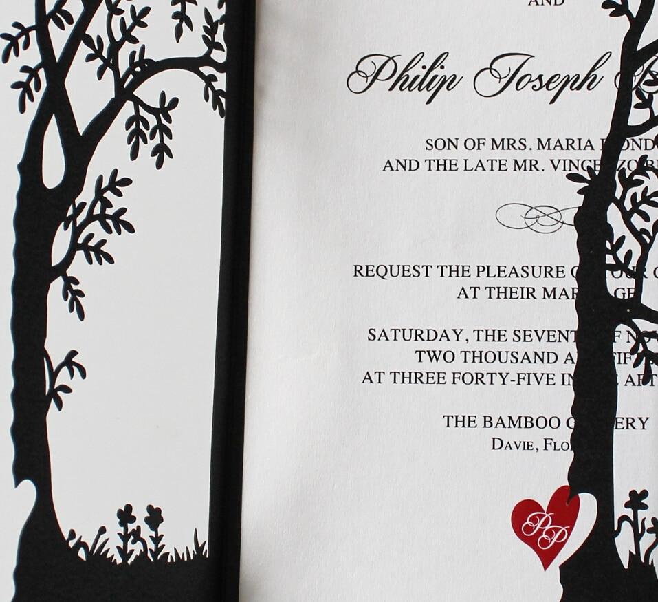 Black Wedding Invitations, Tree Invitations, Red Heart Wedding ...
