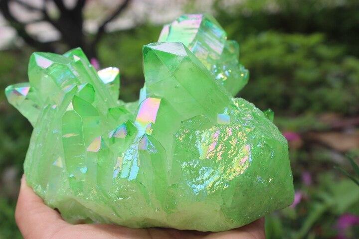 1737g Quartz cristal grappe herbe aura verte baguette de guérison spécimens 'A1 - 2