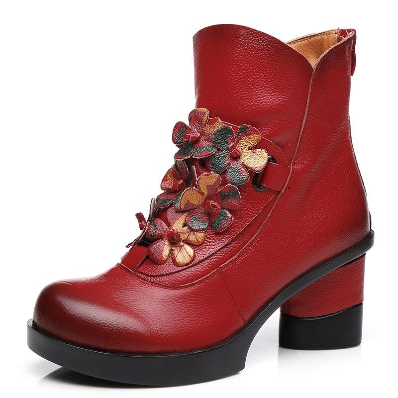 GKTINOO 秋冬のファッション本革女性のブーツカジュアルな女性厚いハイヒール手作り女性アンクルブーツ  グループ上の 靴 からの アンクルブーツ の中 3