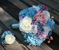 Высокое Качество Розовый И Голубой Розы Свадебные Букеты Рамос Де Novia Bruidsboeket Свадебных Букетов Для Свадьбы Украшения На Складе
