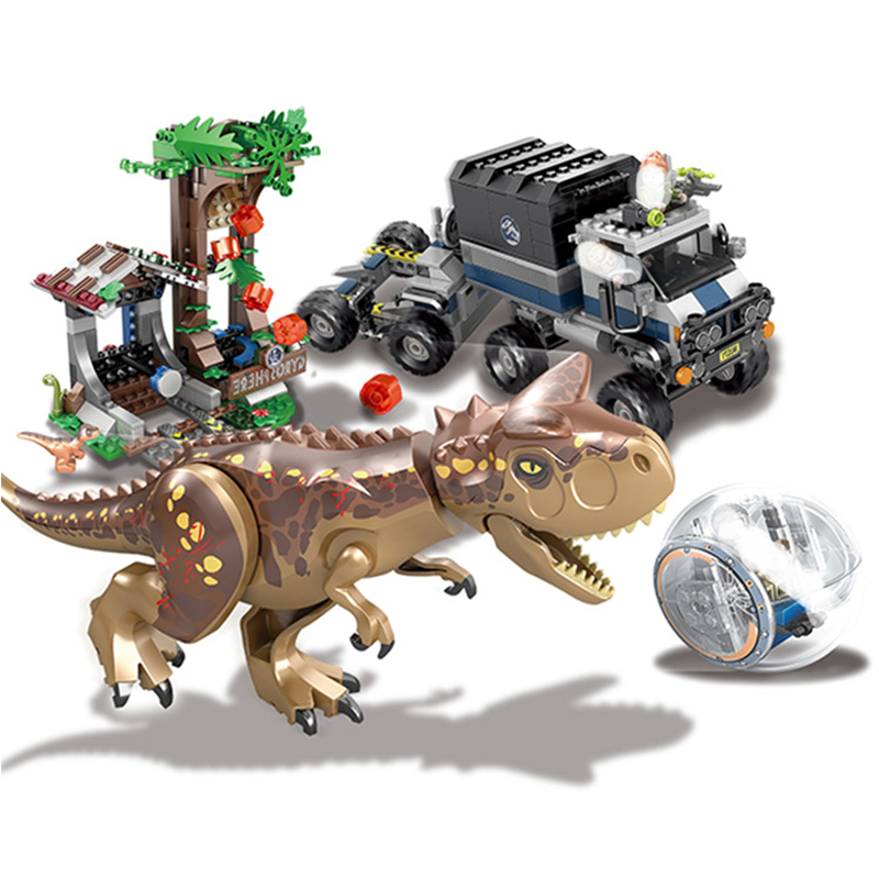 Jurassic 2 World Park Dinosaur indoraptor Carnotaurus Escape Model Building Block Toys For Children Compatible with Legoing