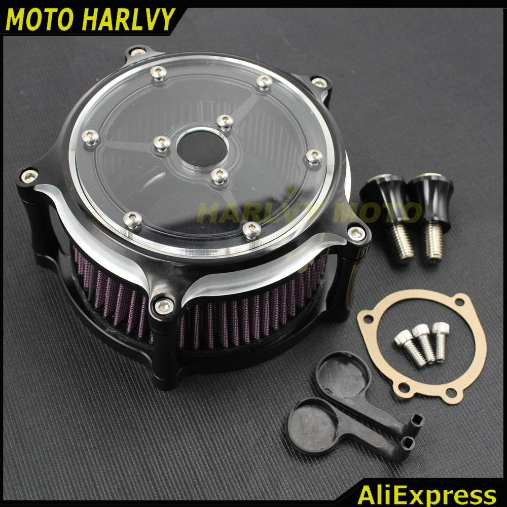 NEW One Set Transparent Mirror Air Filter CNC Crafts Air Cleaner Intake Filter Fit for Harley