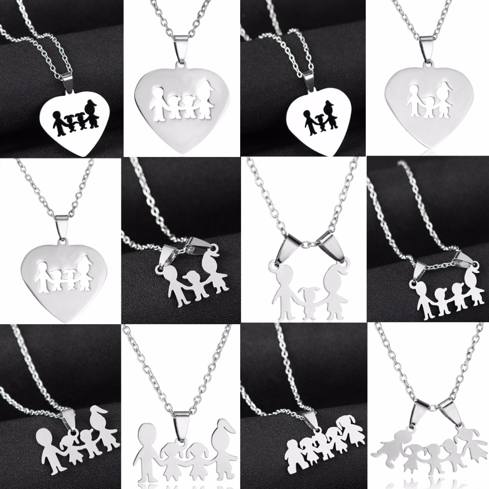Family Love Son Daughter Necklaces Stainless Steel Heart Pendant Boys Girls Mothers Fathers Necklace Gifts For Mom Dad Children image