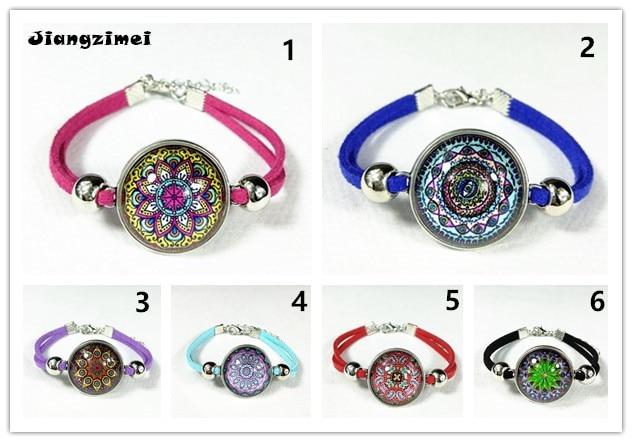 12pcs/lot Indian henna bracelets Mandala Flower Bandanna charm Bracelet Zen Vintage bangle
