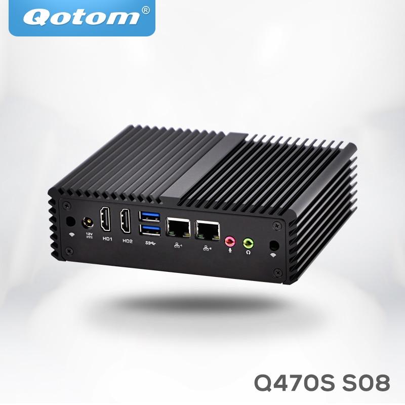 Qotom mini pc i7 Q470S with Core i7-4500U up to 3.0GHz AES-NI 3G/4G SIM slot,WOL 7/24h Fanless Low Power small desktop computer fanless vehicle industrial pc with wifi 3g sim socket lbox 2550