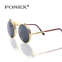 FONEX Retro Steampunk Googles Vintage Round Flip Up Sunglass Women Mens Circle Clip On Sunglasses Metal Punk Sun Glasses 057