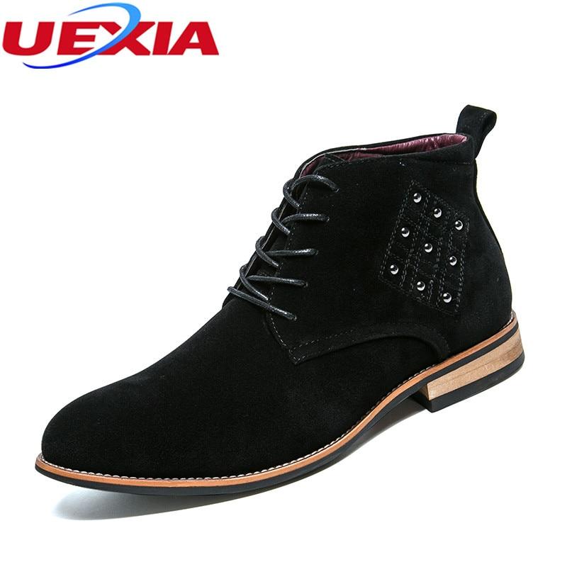 UEXIA Rivet Men Boots Fashion font b Shoes b font Men font b Casual b font