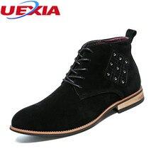 Uexia заклепки Мужские ботинки модная обувь Для мужчин Повседневное рабочая обувь Botas лодыжки в стиле ретро ботинки Martin высокие Обувь нескользящей открытый Повседневное