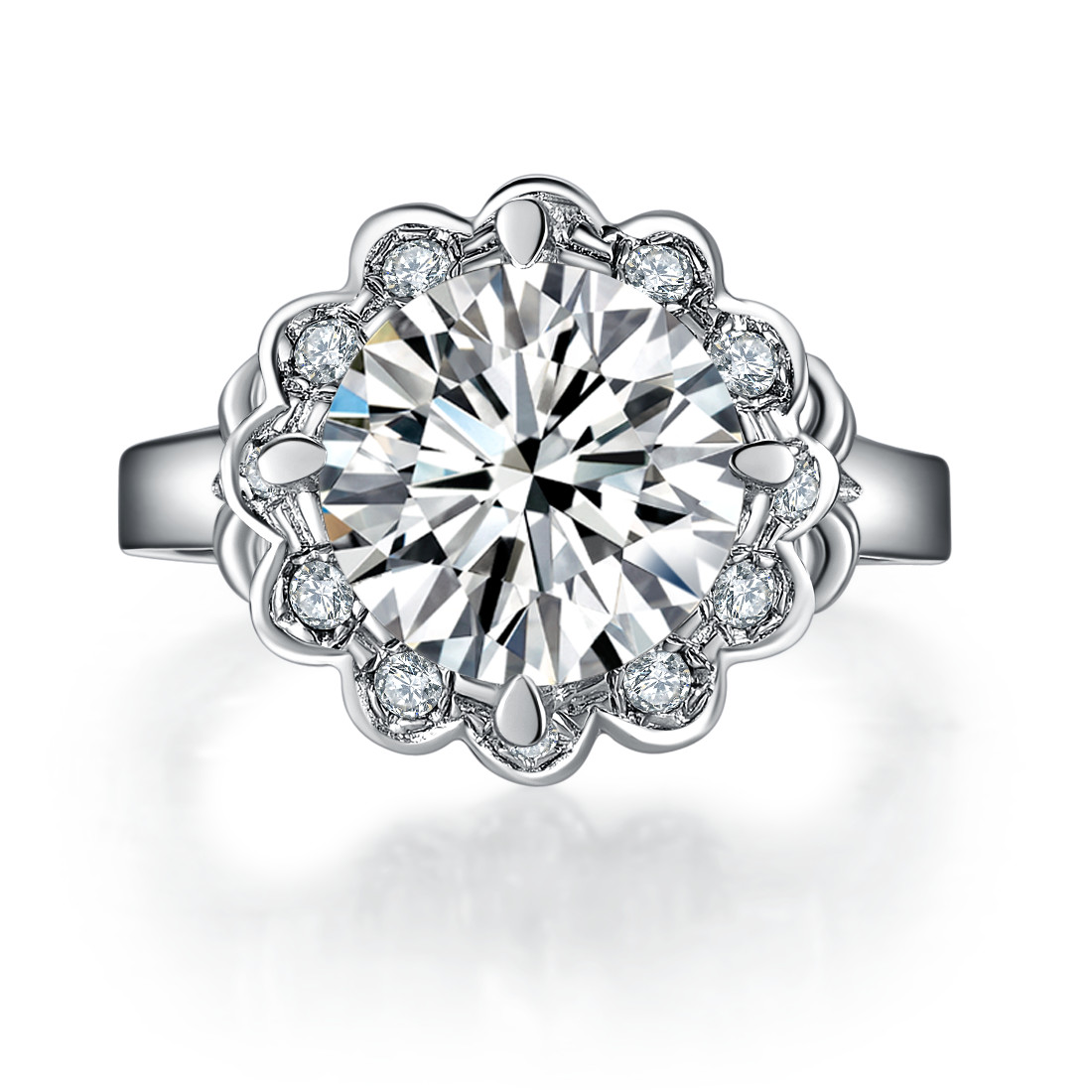 Vintage Flower Style 4ct Synthetic Diamonds Wedding Anniversary Ring Pure  Silver Engagement Jewelry For Bride Never