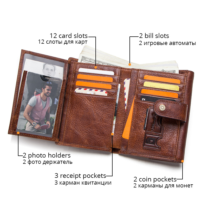 CONTACT'S crazy horse cow leather RFID men wallets credit card holders mens wallet with coin pocket brand walet male clasp purse 4