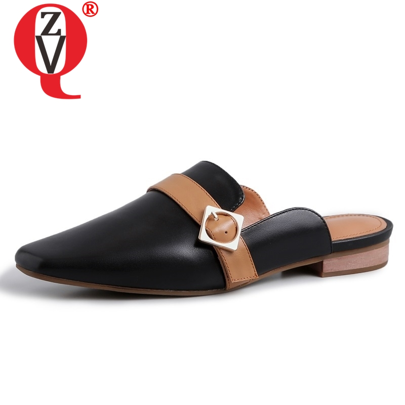 ZVQ shoes women spring new concise casual high quality genuine leather women slippers outside metal decoration
