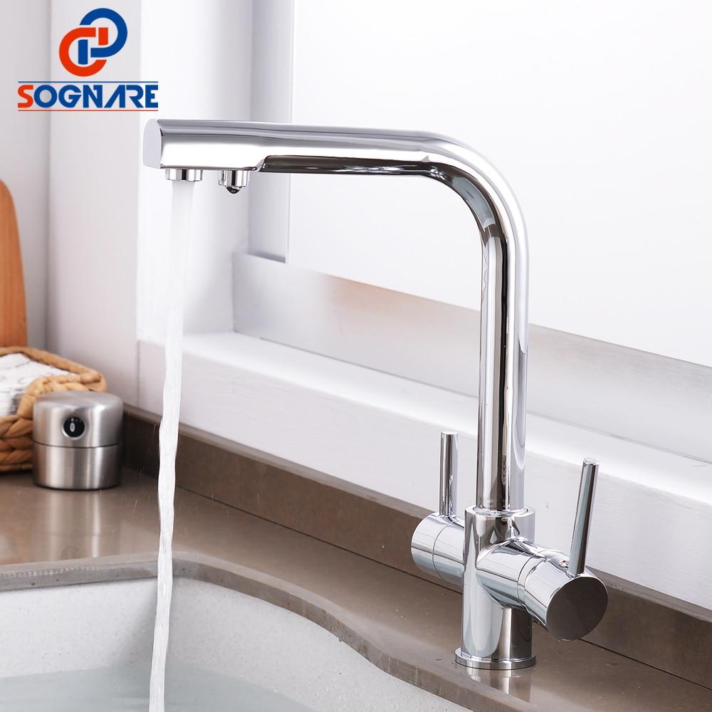 цена на SOGNARE Chrome Brass Kitchen Faucet 3 Way Water Tap Kitchen Sink Mixer Tap 360 Degree Rotation Dual Handle torneira para cozinha