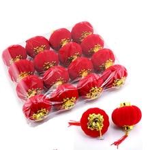 16pcs/lot Round Chinese Plastlic Flannelette Lantern Birthday Wedding Party Decor Gift Craft DIY Lampion Red Hanging