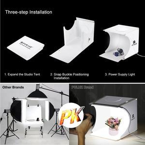 """Image 5 - Puluz 2 led 패널 미니 접는 스튜디오 8 """"확산 소프트 박스 라이트 박스 블랙 화이트 사진 배경 사진 스튜디오 상자"""