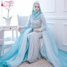 Indian Saudi Arabia Hijab Gorgeous Luxury Wedding Dresses Mermaid Modern Bridal gowns Beads Pearl Bling Bling Elegant Gowns Z741