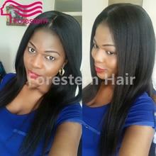 Unprocessed Brazilian Virgin Hair Full Lace Human Hair Wigs Yaki Straight Natural Black Human Hair Wigs With Bleach Knots