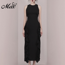 Max Spri 2019 New Fashion O Neck Sleeveless Slim Ruffles Mesh Elegant Women Party Maxi Dress Black