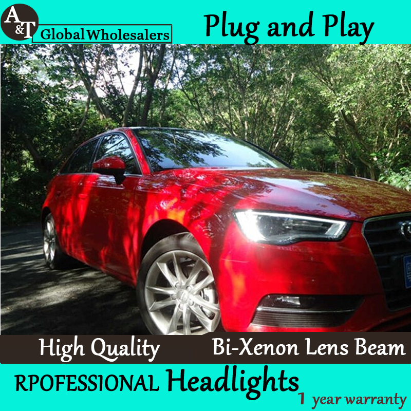 Car Styling for Audi A3 Headlight assembly High Configuration for A3 TSI LED DRL Lens Double Beam H7 with hid kit 2pcs. hireno headlamp for volkswagen tiguan 2017 headlight headlight assembly led drl angel lens double beam hid xenon 2pcs