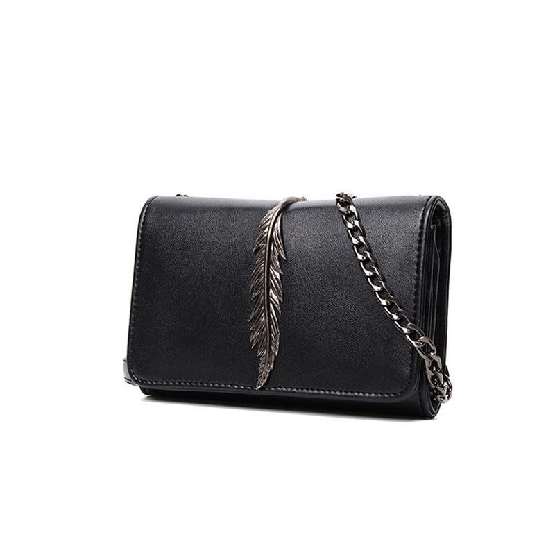 Metallic Leaf Stylish Crossbody Bag Women Casual Simple Chain Bag Classy Black Grey PU Hand Bag