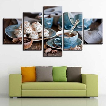 Canvas Pictures Home Decor Modular HD Prints 5 Pieces Coffee Cup Paintings Fine Afternoon Tea Poster Kitchen Wall Art Framework 1