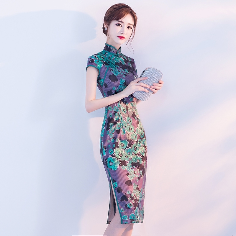 2018 New Cheongsam Summer Fashion Short Paragraph Dignified Atmosphere Retro Chinese Style Dress.