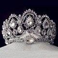 Accesorios Para el Cabello Joyería de la vendimia Plateado Gran Corona de La Reina de La Boda de Cristal Rhinestone Nupcial Pageant Tiaras De Novia