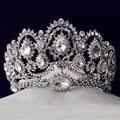 Acessórios de Cabelo do vintage Jóias de Prata Banhado A Grande Coroa Da Rainha De Cristal Strass Nupcial Do Casamento Pageant Tiaras de Noiva Para A Noiva