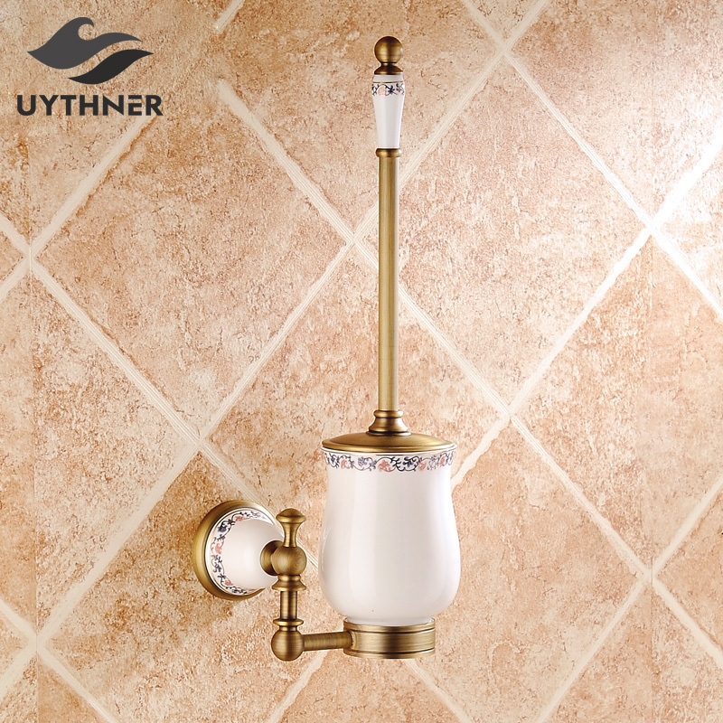 Solid Brass Antique Brass Bathroom Toilet Paper Holder with Brush Bathroom Accessories Wall Mounted free shipping solid brass bathroom accessories set paper holder toilet brush holder bathroom sets antique brassyt 12200 2