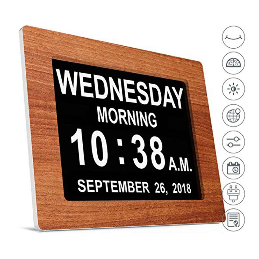 Alarm Day Clock Electronic Extra Large Digital Clock Non Abbreviated Date Time Display Seniors Memory Loss Elderly Dementia 8