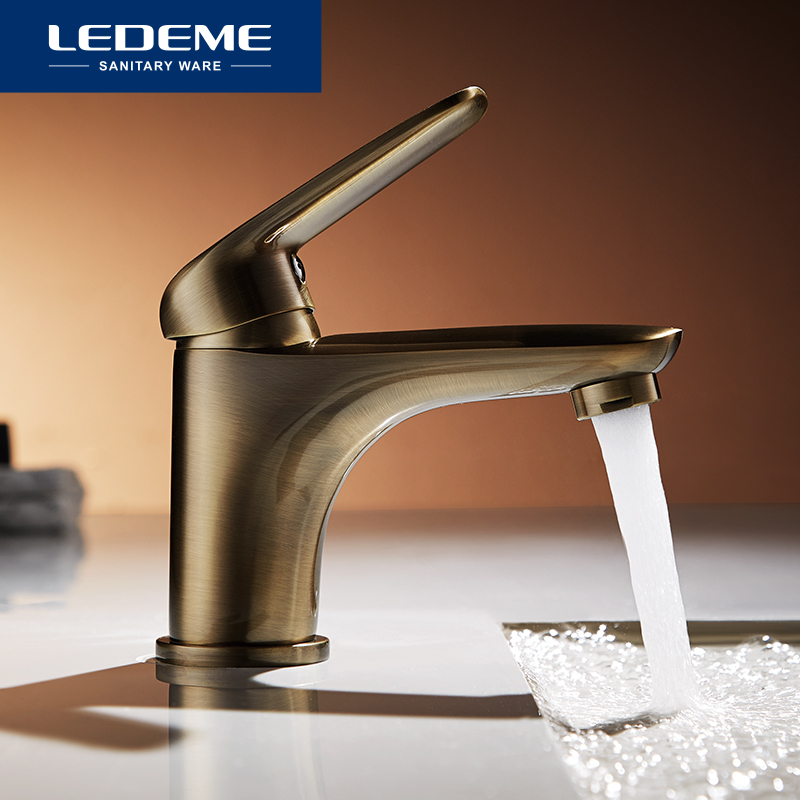 LEDEME Basin Faucets Plating bronze Tap Mixer Finish Brass Traditional Stylish Sink Water Modern Waterfall Faucets